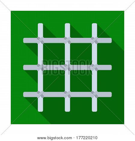 Lattice in the cell of the prisoner. A metal door to hold criminals.Prison single icon in flat style vector symbol stock web illustration.