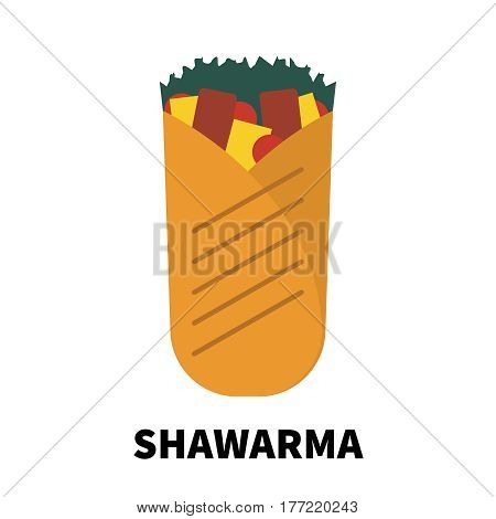 Colorful flat/cartoon design shawarma icon. Vector illustration isolated on a white background. Snakes junk element or symbol for web and mobile applications or advertising.