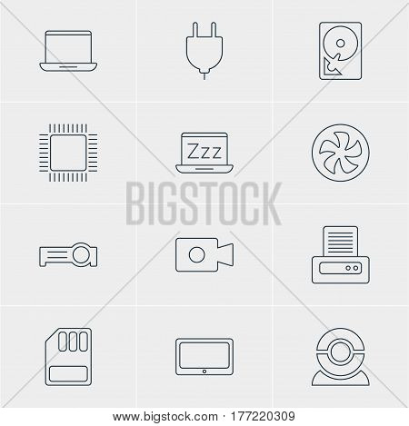 Vector Illustration Of 12 Notebook Icons. Editable Pack Of Web Camera, Cooler, Presentation And Other Elements.