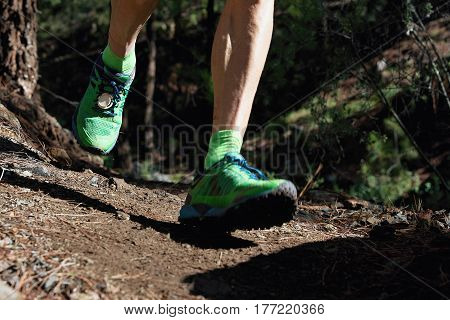 Trail running workout outdoors on rocky terrain, sports shoes detail on a challenging forest track.