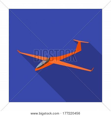 The orange fighter. High speed airplane for one person.Transport single icon in flat style vector symbol stock web illustration.