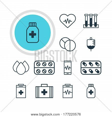 Vector Illustration Of 12 Medicine Icons. Editable Pack Of Trickle, Phone Monitor, Exigency And Other Elements.