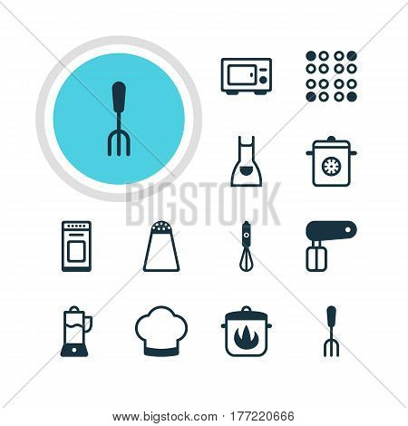 Vector Illustration Of 12 Kitchenware Icons. Editable Pack Of Steamer, Oven, Stewpot And Other Elements.