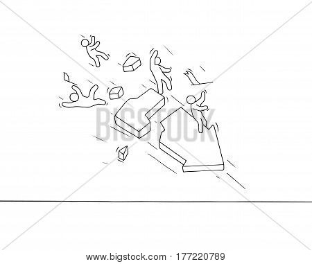 Sketch of little people with broken arrow. Doodle cute miniature scene of workers about failure. Hand drawn cartoon vector illustration for business and finance design.