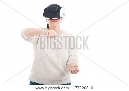 Woman With Digital Vr Headset Experiencing Gaming
