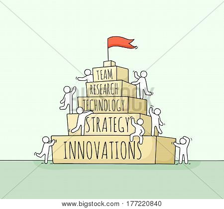 Sketch of working little people with pyramid. Doodle cute miniature scene of workers about success. Hand drawn cartoon vector illustration for business design and infographic.