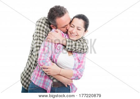 Couple Hugging And Kissing With Affection