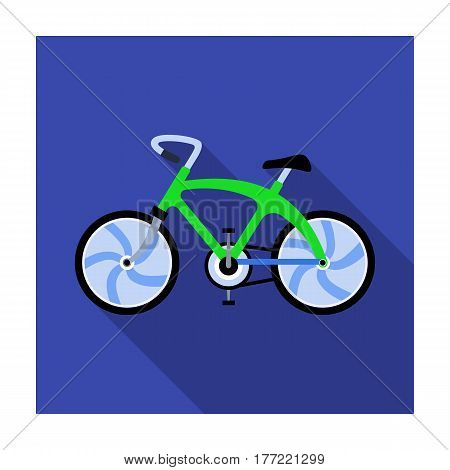 A sports bike for a quick ride down the road. Bicycle ecological economical transport.Transport single icon in flat style vector symbol stock web illustration.