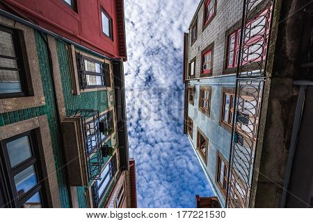 View of residential buildings with Azulejo tiles in Porto Portugal