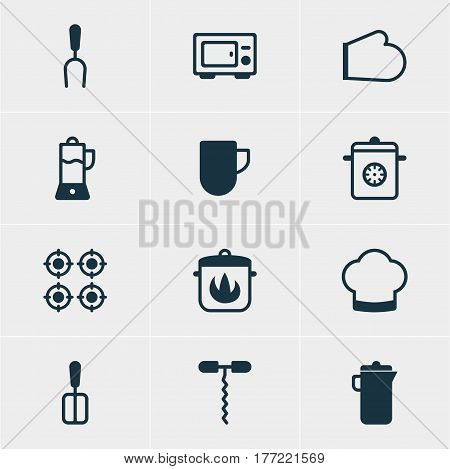 Vector Illustration Of 12 Restaurant Icons. Editable Pack Of Stewpot, Fruit Squeezer, Tea Cup And Other Elements.