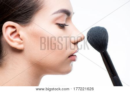 Woman Powder Face With Brush