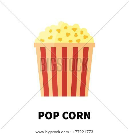 Colorful flat/cartoon design pop corn icon. Vector illustration isolated on a white background. Snakes junk element or symbol for web and mobile applications or advertising.