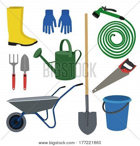 set of  garden  workers tools and accessories