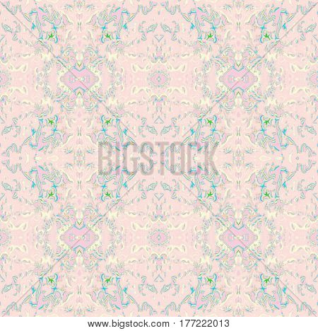 Abstract geometric seamless retro background. Regular ornaments in pink, violet, beige and turquoise, ornate and dreamy.