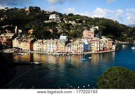 areal view of portofino in genoa italy