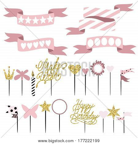 Set of decoration toppers candles and garlands with flags. Vector hand drawn illustration scandinavian style in pink colors with gold glittering elements.