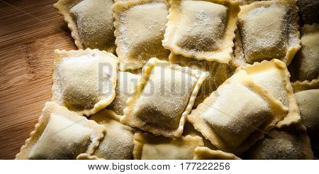close up of italian home made ravioli