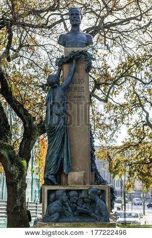 Statue of Julio Dinis in Porto city Portugal