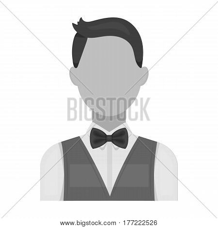 The man in a suit. The croupier, the person who follows the game in the casino.Kasino single icon in monochrome style vector symbol stock web illustration.