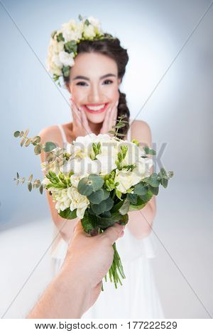 Woman Receiving Flowers
