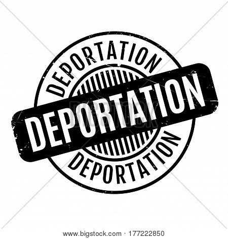 Deportation rubber stamp. Grunge design with dust scratches. Effects can be easily removed for a clean, crisp look. Color is easily changed.