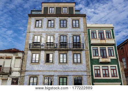 Townhouses frontage with ceramic tilework in Porto city Portugal