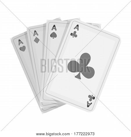Playing plastic cards for playing poker in the casino. A popular game in the casino.Kasino single icon in monochrome style vector symbol stock web illustration.