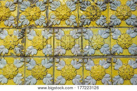 Tiles details on facade of house in Porto city Portugal