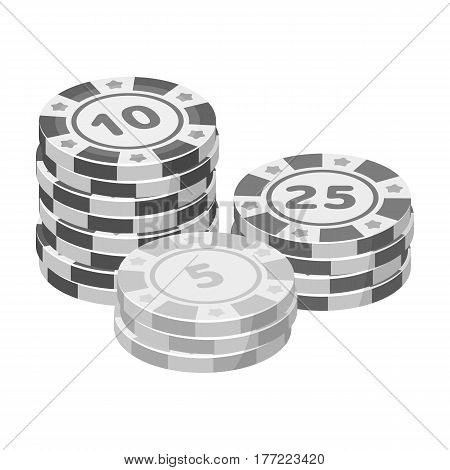 Playing chips. The settlement coin in the casino.Kasino single icon in monochrome style vector symbol stock web illustration.