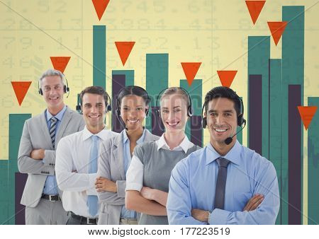 Digital composite of Business Team Standing in front of Graph against colorful background
