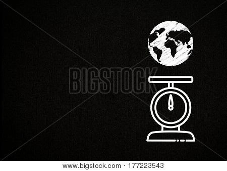 Digital composite of World Weight Scale Food against black background