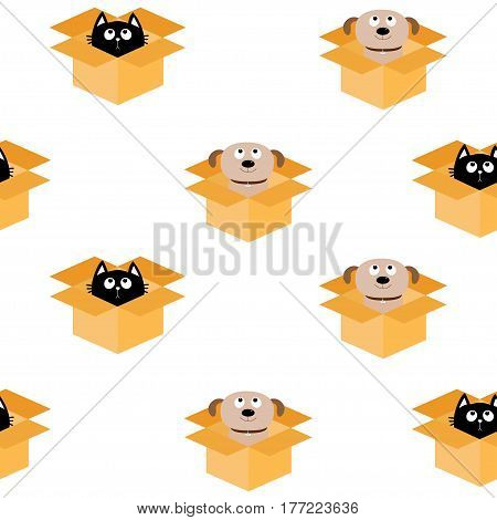 Dog Cat inside opened cardboard package box. Puppy pooch kitten cat looking up. Seamless Pattern Wrapping paper textile template. White background. Flat design. Vector illustration