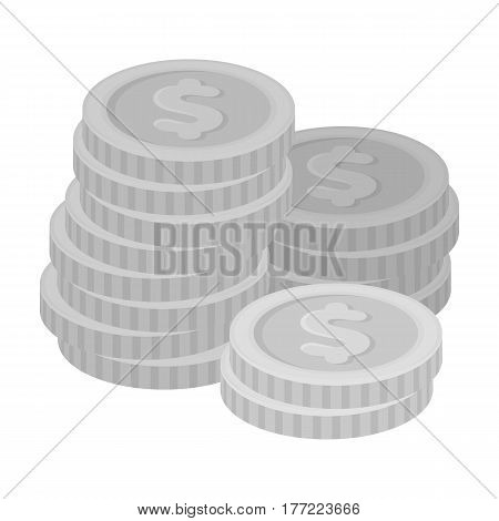 A pile of coins for reckoning in a casino. Gambling.Kasino single icon in monochrome style vector symbol stock web illustration.