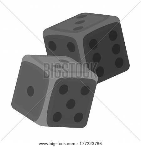 Dice for games in the casino. Stones to throw on the table for good luck.Kasino single icon in monochrome style vector symbol stock web illustration.