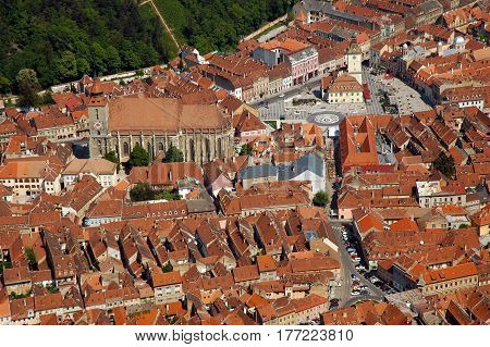Aerial View Of The European City Of Brasov, Romania