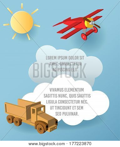 Vector Paper Art Of Cloud, Car And Plane In The Sky. Template Advertising Brochure With Space For Te