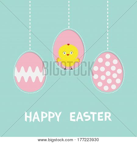 Three painting egg shell. Happy Easter text. Hanging painted egg set. Chicken baby bird. Dash line. Greeting card. Flat design style. Cute decoration element. Vector illustration