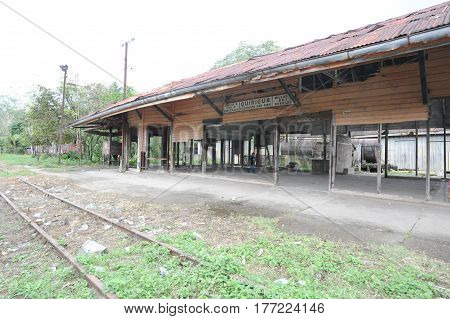 Abandoned train station at Quirigua on Guatemala