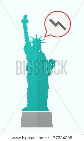 Isolated Statue Of Liberty With A Descending Graph