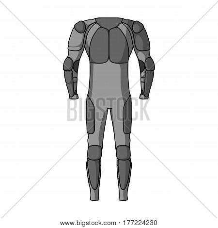 Outfitting for cyclists. Full body protection against falls.Cyclist outfit single icon in monochrome style vector symbol stock web illustration.