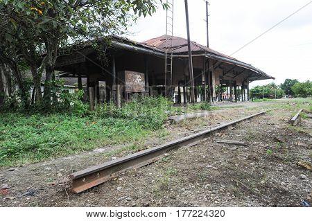 Abandoned train station at Quirigua on Guatemala