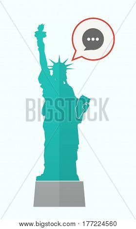 Isolated Statue Of Liberty With A Comic Balloon