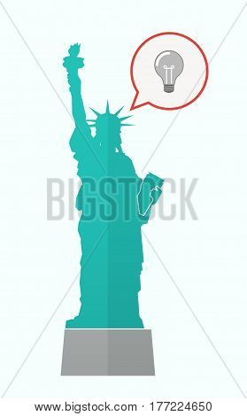 Isolated Statue Of Liberty With A Light Bulb