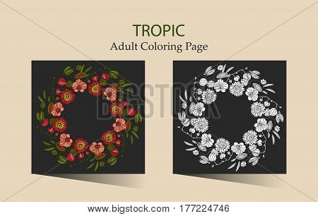 Round vector ornament with tropical flowers. Cloring page for adults.