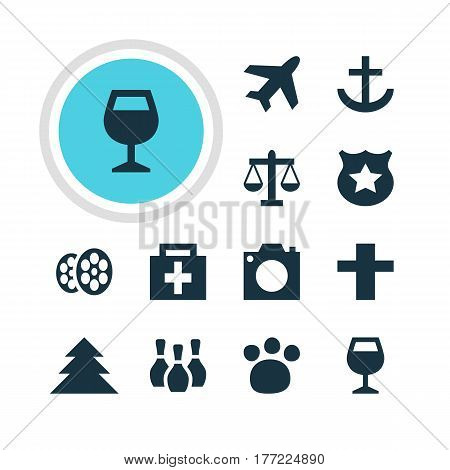 Vector Illustration Of 12 Check-In Icons. Editable Pack Of Photo Device, Skittles, Jungle And Other Elements.