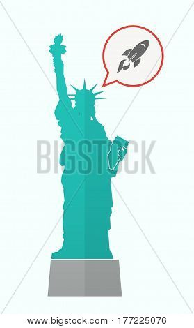 Isolated Statue Of Liberty With A Rocket