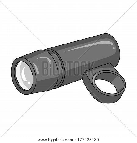 A flashlight that clings to the steering wheel to illuminate the road.Cyclist outfit single icon in monochrome style vector symbol stock web illustration.