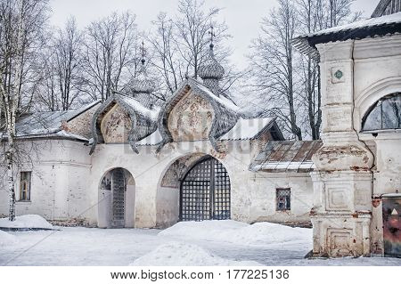 Ancient gate belltower of the Znamensky cathedral in Novgorod, Russia.