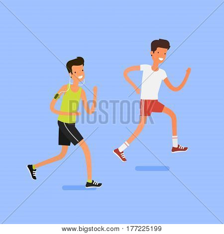 Concept of Sport and activity people. Group of young men running. Jogging cartoon character. Sprint marathon.