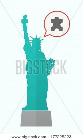 Isolated Statue Of Liberty With A Puzzle Piece